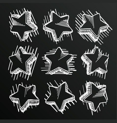chalkboard sketch of hand drawn star set template vector image
