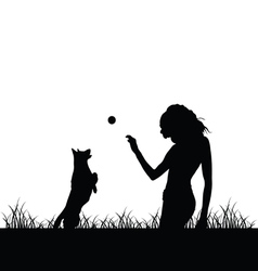 girl with dog silhouette vector image vector image