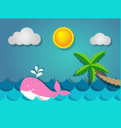 Pink whale swimming in the sea and coconut tree vector