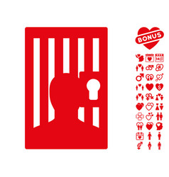 prison door icon with lovely bonus vector image vector image