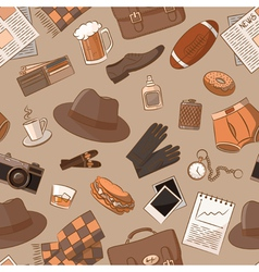 Seamless pattern with vintage male things vector image vector image
