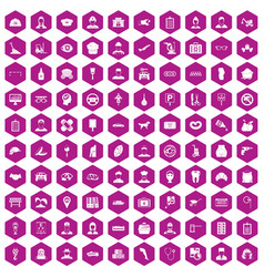 100 favorite work icons hexagon violet vector image vector image
