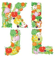 Alphabet of vegetables IJKL vector image