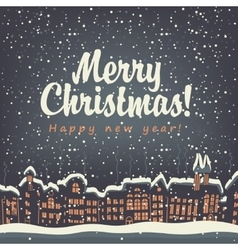 Christmas card old city vector image vector image