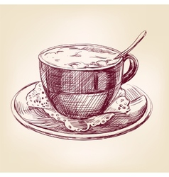 coffee cup hand drawn llustration realistic sketch vector image vector image