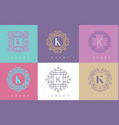 k letter pastel floral monogram lines logo design vector image vector image