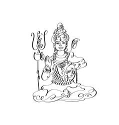 Line art lord shiva black and white calligraphic vector