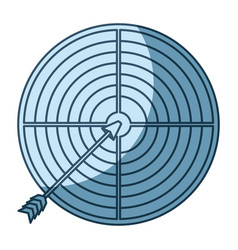 Blue shading silhouette of arrow on target vector