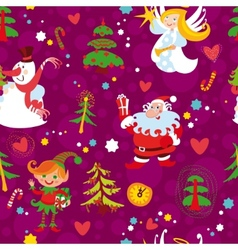 christmas seamless wallpaper pattern vector image