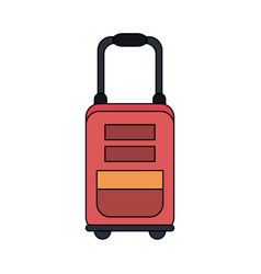 Color image red travel suitcase with handle vector