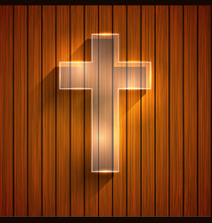 cross on wooden background Eps 10 vector image vector image