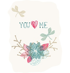 Floral Valentine background with dragonfly vector image vector image