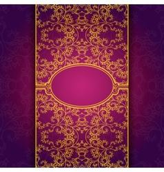 Gold abstract invitation floral violet frame vector