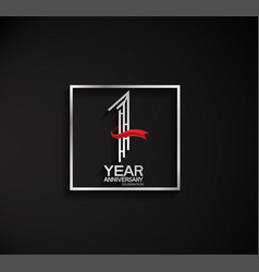 1 year anniversary logotype with square silver vector