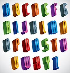 3d font colorful glossy letters vector image