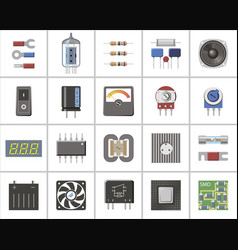 a set of electronic parts and components vector image