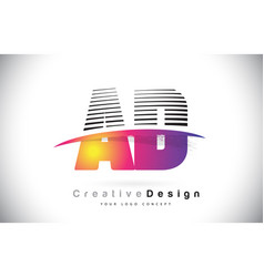 ad a d letter logo design with creative lines and vector image