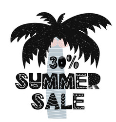 advert card with lettering 30 summer sale wit palm vector image