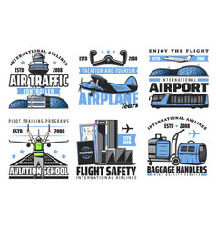 Airlines and airport safety flights plane vector