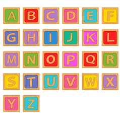 alphabet wooden english blocks vector image