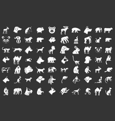 animals icon set grey vector image