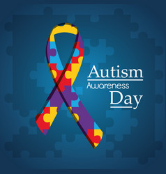Autism awareness day puzzle shape ribbon blue vector