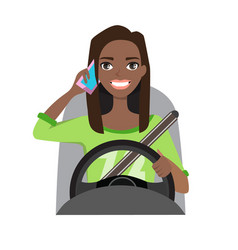 Black african american woman driving a car talking vector