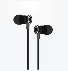 Black earphones vector