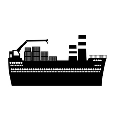 Black silhouette tanker cargo ship with containers vector