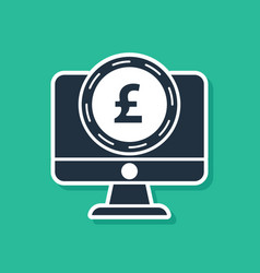 Blue computer monitor with pound sterling symbol vector
