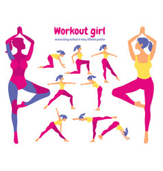 Body workout set pack of parts woman doing vector
