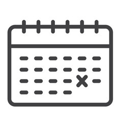 Calendar line icon time and date reminder vector