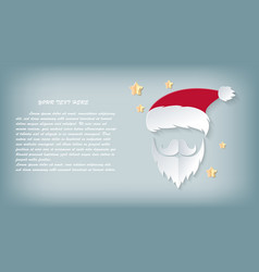 card christmas day santa claus paper cut out hat vector image