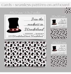 Cards Templates - Hatter Hat from Wonderland vector image