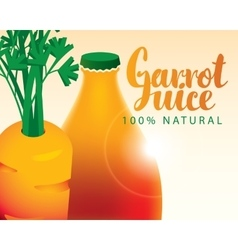 Carrot bottle juice vector
