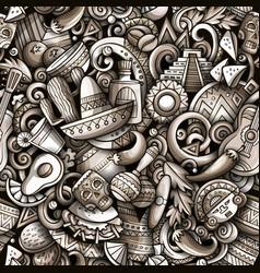 Cartoon doodles mexico seamless pattern vector