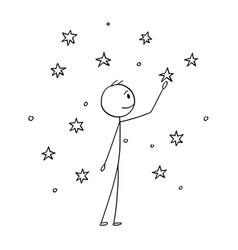 Cartoon of man touching stars on the sky vector