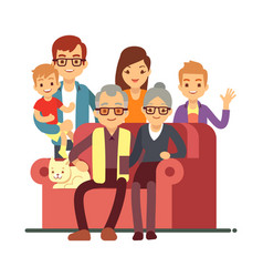 cartoon style family isolated on white background vector image