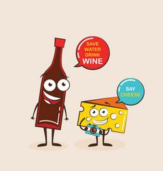 cartoons comic characters bottle wine vector image