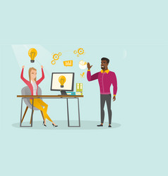Cheerful business people having successful idea vector