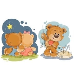 Clip art for greeting card with teddy vector image
