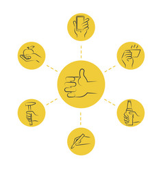 cool thin line concept - hand icons with tools and vector image