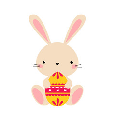 Cute little bunny sitting with colorful decorated vector