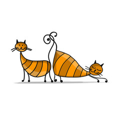 cute striped cats sketch for your design vector image