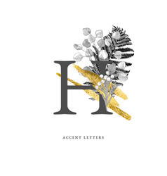 Decorated h letter with hand drawn tropical leaves vector