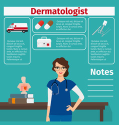 Dermatologist and medical equipment icons vector