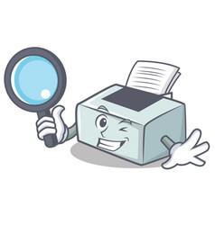 Detective printer character cartoon style vector