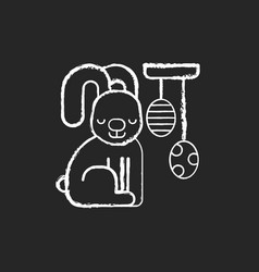 easter decorations chalk white icon on black vector image