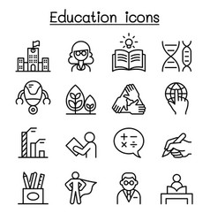 Education learning icon set in thin line style vector