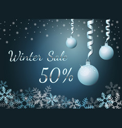 Elegant silver winter lettering design winter sale vector